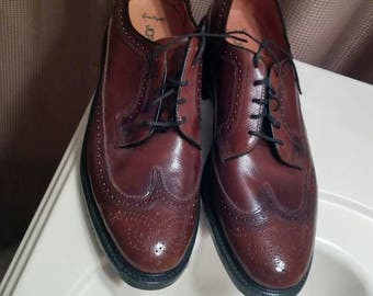 JC Penney Sanitized Brown Wingtip Shoes 12D Made In USA