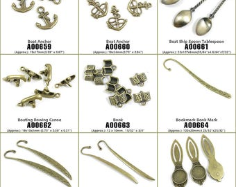 Jewelry Making Supply Charms Findings Boat Anchor Ship Spoon Tablespoon Boating Rowing Canoe Book Bookmark Mark Cabochon Setting Blank