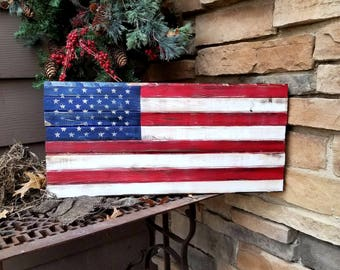 Rustic Wooden American Flag - Americana Wall Decor