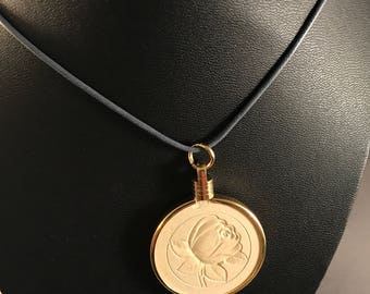 Up-cycled vintage poker chip necklace - embossed rose.