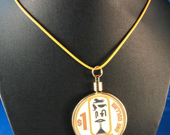 Up-cycled Casino poker chip necklace - Luxor Casino - Las Vegas