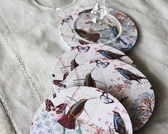 Coasters: romantic Shabby chic style-colorful exotic birds