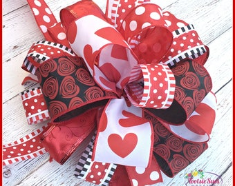 Valentine Red White Black Hearts Bow, Lantern Bow, Package Gift Bow, Red Valentine Day Bow, Wreath Bow, Basket Bow, Stair Rail Bow, Swag Bow