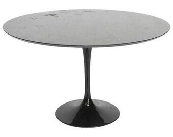 Mid-Century Black Marble Eero Saarinen Style Tulip Dining Table