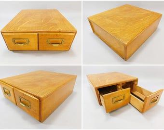 Antique Oak 2-Drawer Card Catalog  / Vintage Library File Cabinet / Quarter Sawn Oak / 15 x 13 x 5 / Great American