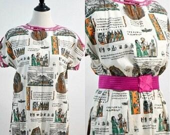 SUMMER SALE Vintage Caftan Dress / Egyptian Print Dress / Lounge Dress / Small S Medium M / Women's Tunic Dress / Boho Hippie Dress