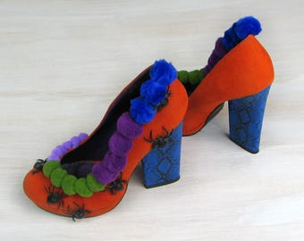 Halloween shoes boots witch shoes, Halloween decor, Thanksgiving, orange blue purple green, spiders, costume party OOAK, unusual arrangement