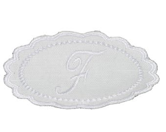 "Embroidery patch ""F"" Monogram white"