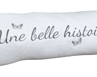 """Cushion Duffel available in linen white """"A great story..."""" 48x18cm"""