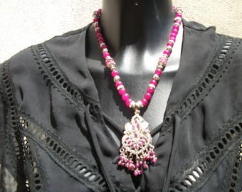 Silver Ruby pendant necklace.