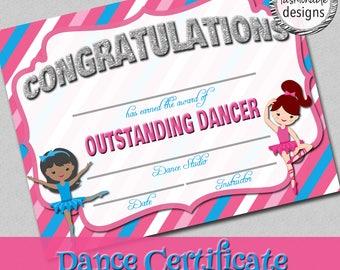 Dance Certificate, Dance Award, Ballet Certificate, Instant Download, Print Your Own