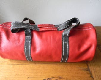 Handmade red leather travel bag