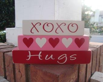 Valentine's wood blocks, XOXO Hearts & Hugs, XOXO Valentine's Day Decor, Valentines Day Sign, XOXO Wood Block Set