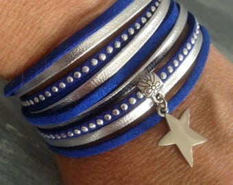 Multi strand blue and silver rhinestones and star suede leather Cuff Bracelet