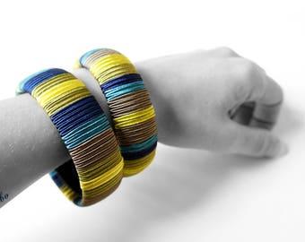 Ethnic style bracelet. Original and colorful bangles.  Waxebo