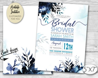 Blue Watercolor Flowers | Floral Bridal Shower Party Invitation
