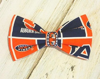 Auburn Inspired Fabric bow tie, bow tie for dog/cat collars, pet bow tie, collar bow tie, wedding bow tie
