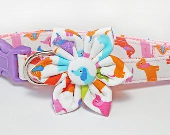 Mini Dachshund Dog Collar Set, flower for dog collar, wedding flower, pet collar flower, collar flower, doxie