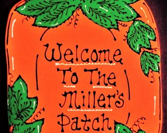 Personalized PUMPKIN PATCH SIGN Fall Halloween Autumn Handcrafted Plaque Hand Painted Seasonal Decor