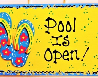 POOL IS OPEN Flip Flops Sign Tropical Beach Pool Deck Tiki Bar Hawaiian Decor Handcrafted Plaque
