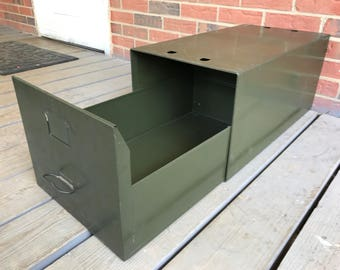 Vintage Metal File Drawer Side Table Industrial Decor Rustic Diebold Safe-T-Stak