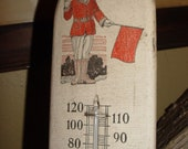 """Rare Hood Tires Wood Thermometer ~ Early Flag Man: Very good scarce condition 4"""" x 15"""""""