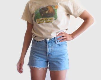 vintage denim cut off shorts