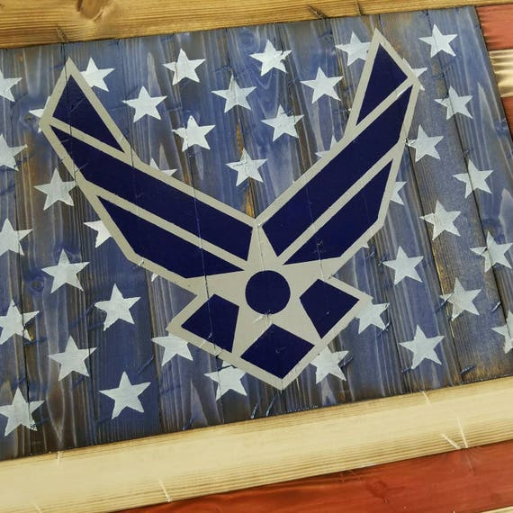 Wooden Rustic American Flag w/ Air Force Logo