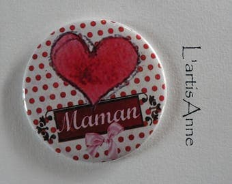 MOM heart Magnet / Pocket mirror / Badge pin MOM.