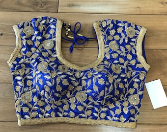 Designer Silk Sari Blouses with Gold Work