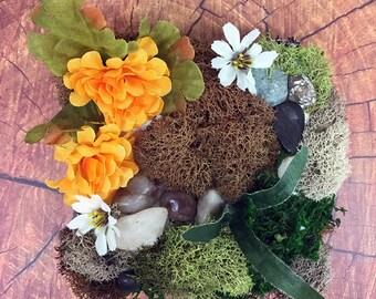 Orange Mums Autumn Moss Wall Art OOAK Fall Home Decor