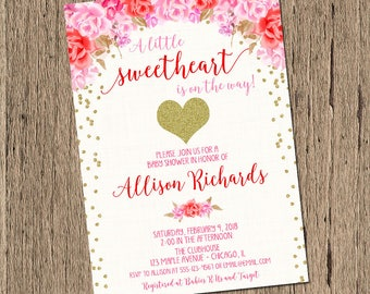 Valentines baby shower invitation, little sweetheart baby shower, valentines day, heart baby shower, pink red white floral, printable invite