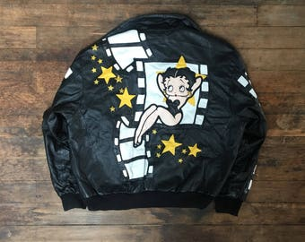 Vintage Betty Boop Leather Jacket - XL - Rare - Vtg - Vintage Clothing - Cartoons - Film and Movies - Blackmagika -