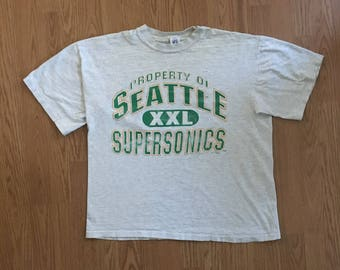 VTG 1991 Seattle Supersonics T-Shirt - Large Mens - Vintage Tee - Vintage Clothing - Sonics - Shawn Kemp - Logo 7 - Distressed - NBA