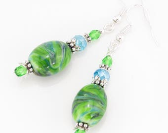 Green Dangle Earrings, Aisling Glas Lampwork Earrings, Artisan Lampwork Jewelry, Beaded Earrings, Beaded Jewelry, St. Patrick's Day, Easter