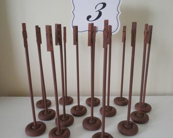 Set of 24 Handmade Extra Tall Dark Wood Tone Table Number Holders - Table Number Stands For Wedding Guest Tables - Rustic Elegance