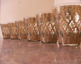 Amazing Set of Seven (7) Vintage 1960s Culver Valencia Gold and Green Tapered Lo-Ball / Rocks Glasses