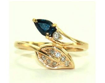 Engagement Ring, Parti Sapphire Diamond 14K Gold Ring, Blue/Green Sapphire, Brilliant Cut Diamonds, Leaves Ring, GIFT