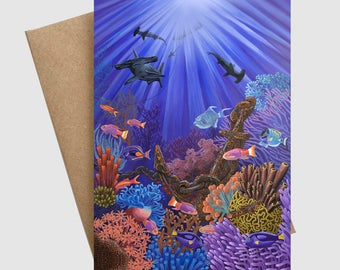 Underwater coral reef greeting card FREE SHIPPING / save the ocean greeting card / diving snorkeling anchor ship shark save big barer reef