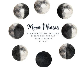 Watercolor Moon phases/Individual PNG files/Hand Painted/