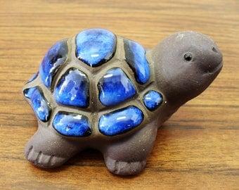 Vintage Clay Glazed Turtle Figurine