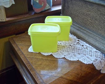 Yellow Tupperware Containers~Vintage Tupperware~Tupperware Shelf Savers~Tupperware Kitchen Storage Containers~Yellow Plastic Canisters