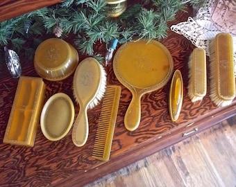 Vintage Vanity Set~Vintage Celluloid Vanity Set~10 Piece Bedroom Vanity Set~Bedroom Dresser Set~Vintage Hand Mirror~Nail Buffer~ Powder Jar