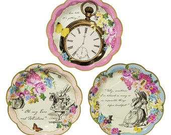 "12 paper plates ""Alice in Wonderland country"" - pretty tableware"