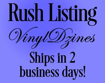Rush Listing - Ships in 2 business days.  Please read details carefully.