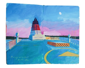 """Fine Art Print of Landscape Painting from Artist Travel Journal - """"Baltic Cruise"""""""