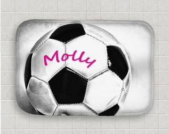 Attractive Soccer Ball Bath Mat Personalized Bath Mat Name On Soccer Ball Microfiber  Mat