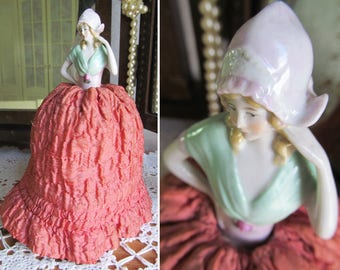 Dainty vintage PINCUSHION with porcelain HALF DOLL~Complete with original pincushion covered by extravagant padded, ruffled skirt