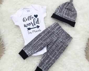 Newborn Boy Coming Home Outfit, Coming Home Outfit Newborn Baby Boy, Hello World Onesie, Hello World Newborn Outfit Boy, Coming Home Outfit