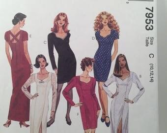 1990s Evening Dress, McCall's 7953, Sewing Pattern, Lined Dress, Back Zipper, Side Slit Dress, Front Slit Dress, Lower Back Dress, Fitted